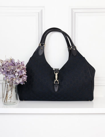Gucci black canvas GG and leather Jackie shoulder bag