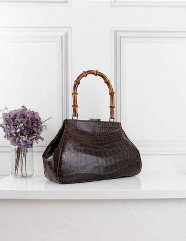Gucci brown crocodile skin leather bag with bamboo handle- My Wardrobe Mistakes