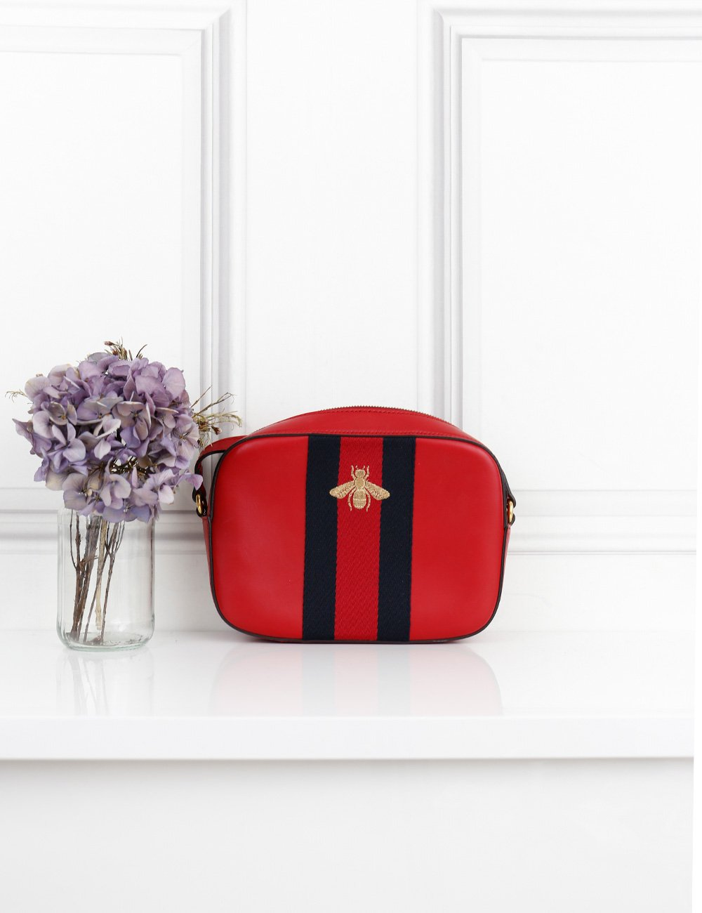 Gucci red cross body bag with gold bee motif- My Wardrobe Mistakes