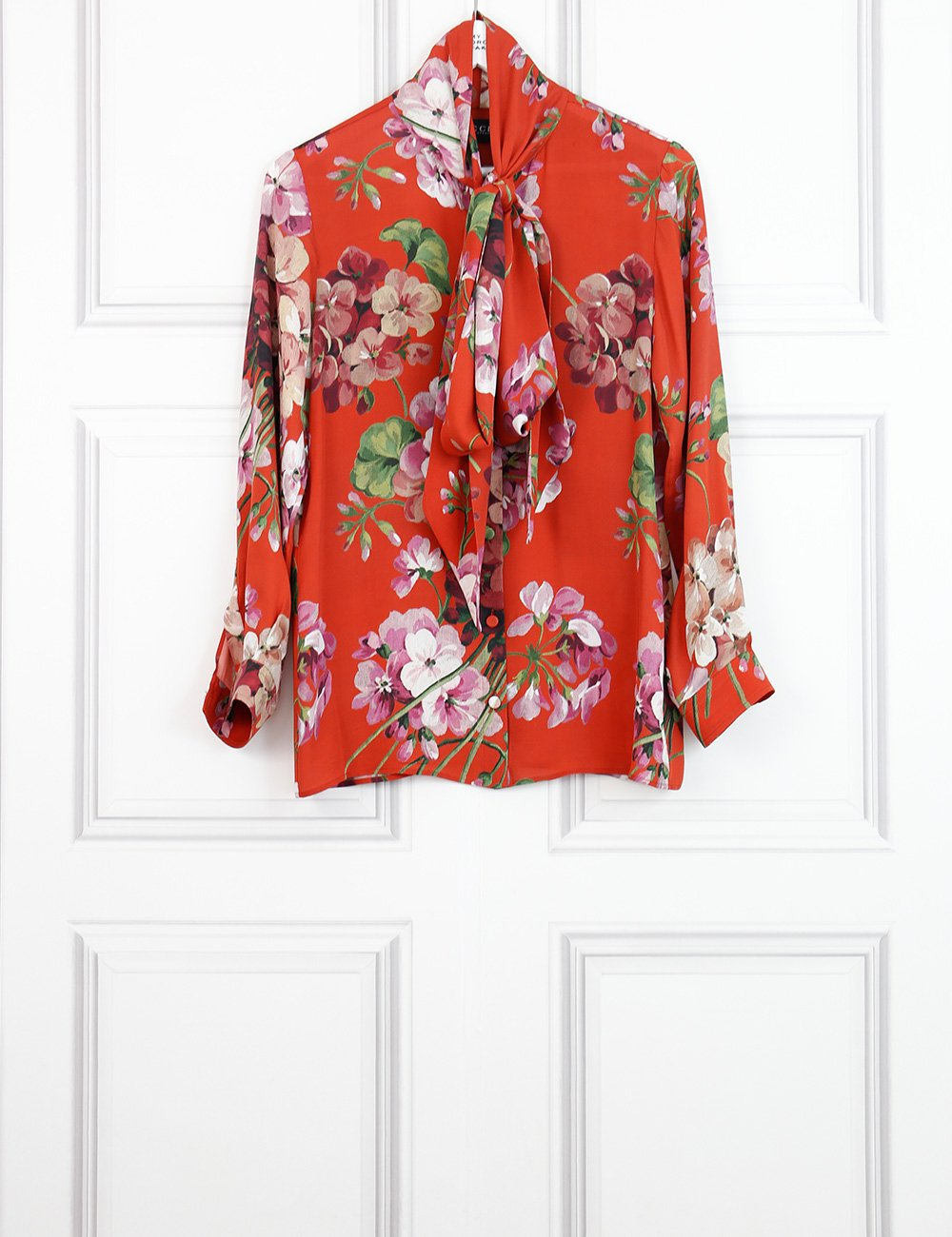 Gucci multicolour printed silk shirt with bloom floral motives 6UK- My Wardrobe Mistakes