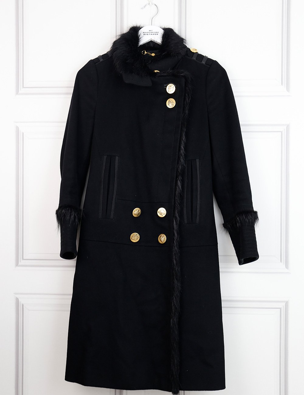 Gucci black long military wool coat with fur details 8UK- My Wardrobe Mistakes