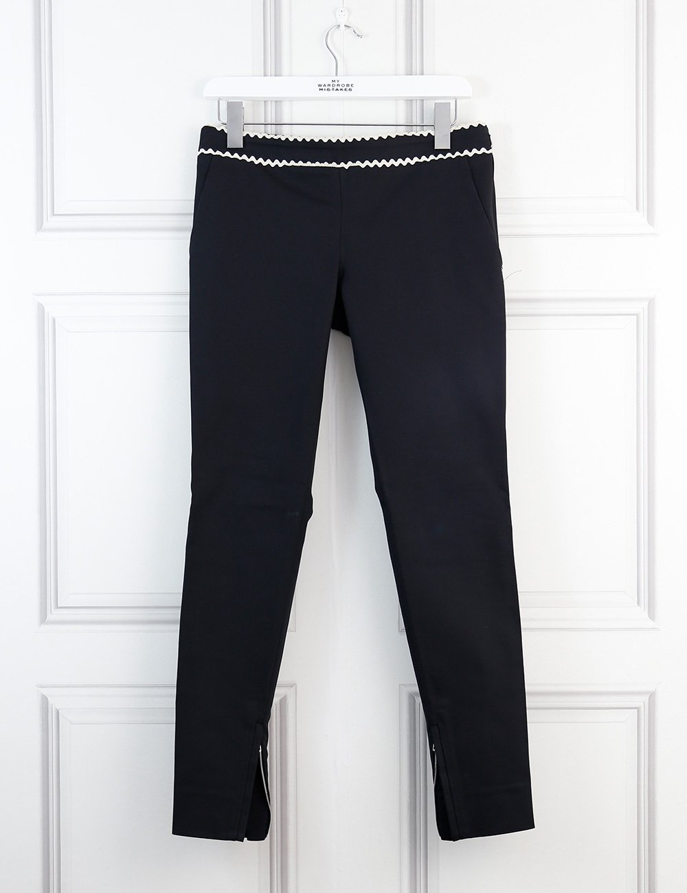 Gucci black tailored trousers with white scalloped details at the waistband 8Uk