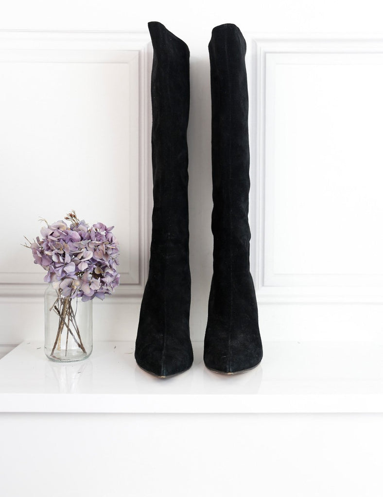 Gucci black suede pointed toe knee boots with bamboo stiletto heels 5.5Uk- My Wardrobe Mistakes