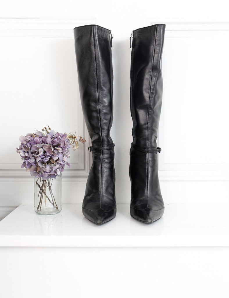 Gucci black pointed toe knee high boot with stiletto heel and logo 5.5Uk- My Wardrobe Mistakes  Edit alt text