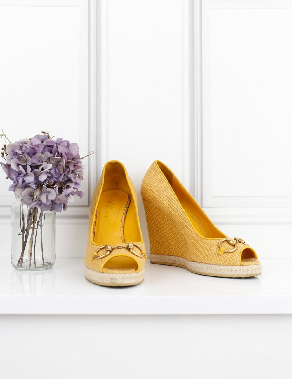 Gucci yellow open wedges with signature horse bit 7.5UK- My Wardrobe Mistakes