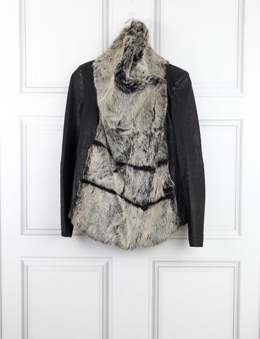 Helmut Lang multicolour leather jacket with fur 6UK- My Wardrobe Mistakes