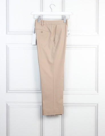 Helmut Lang khaki bonded hem crop stretch wool pants 8Uk