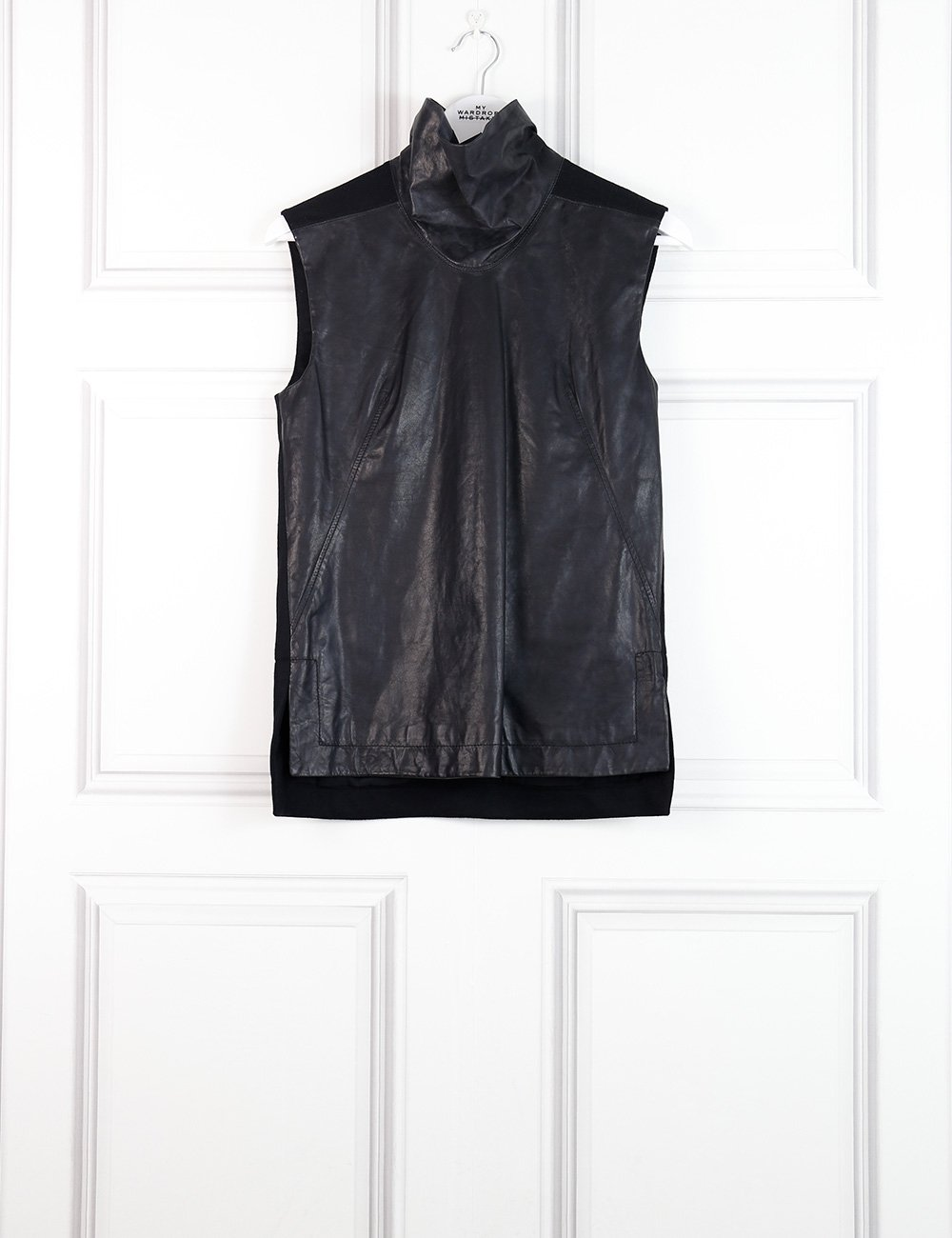 Helmut Lang black sleeveless leather turtleneck top 8UK- My Wardrobe Mistakes