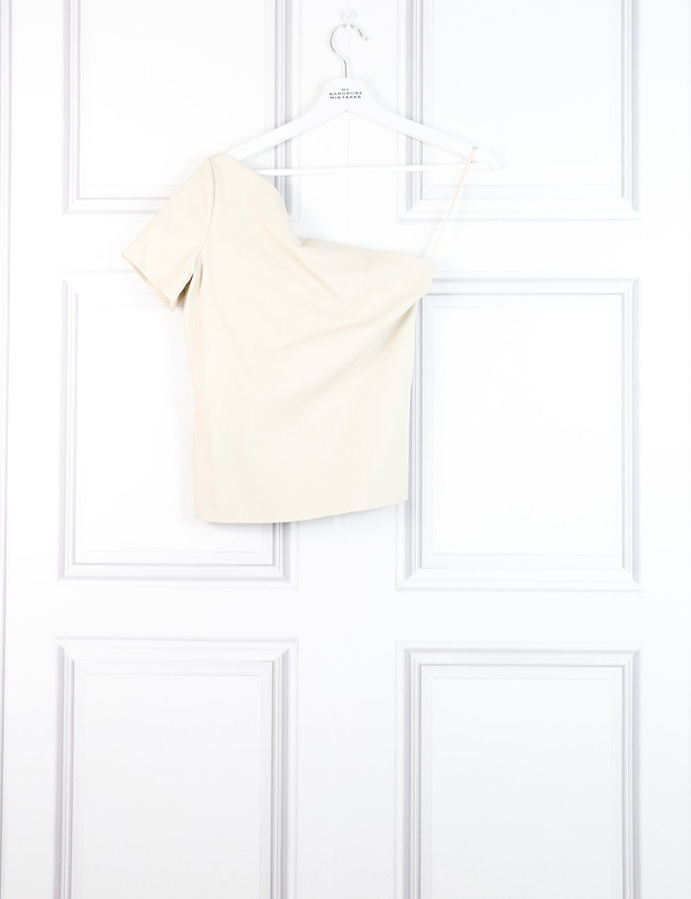 Helmut Lang beige asymmetric leather top 10Uk- My Wardrobe Mistakes