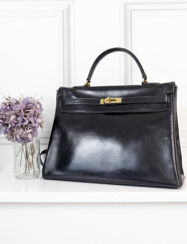 Hermes black Kelly Sellier 32 bag