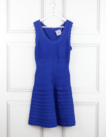 Herve Leger blue Jules scalloped bandage mini dress 10UK- My Wardrobe Mistakes