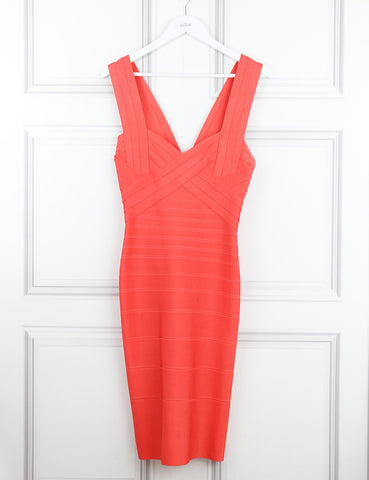 Herve Leger coral pink Jodie Novelty essentials bandage dress 10Uk- My Wardrobe Mistakes