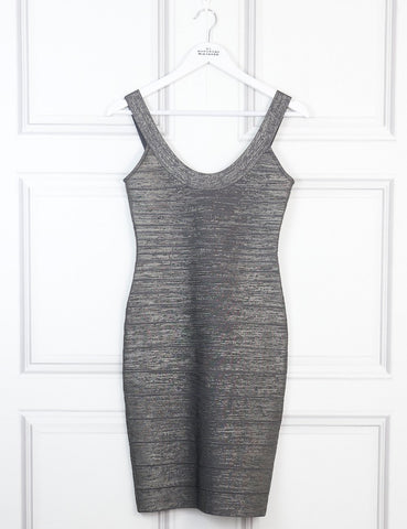 Herve Leger grey metallic sleeveless bandage dress 8Uk- My Wardrobe Mistakes