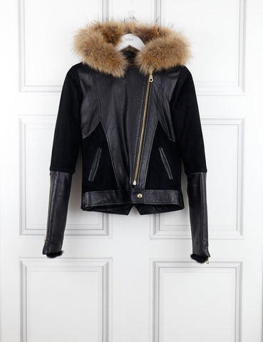 Holland and Cooper black zipped jacket with fur trim 10UK- My Wardrobe Mistakes