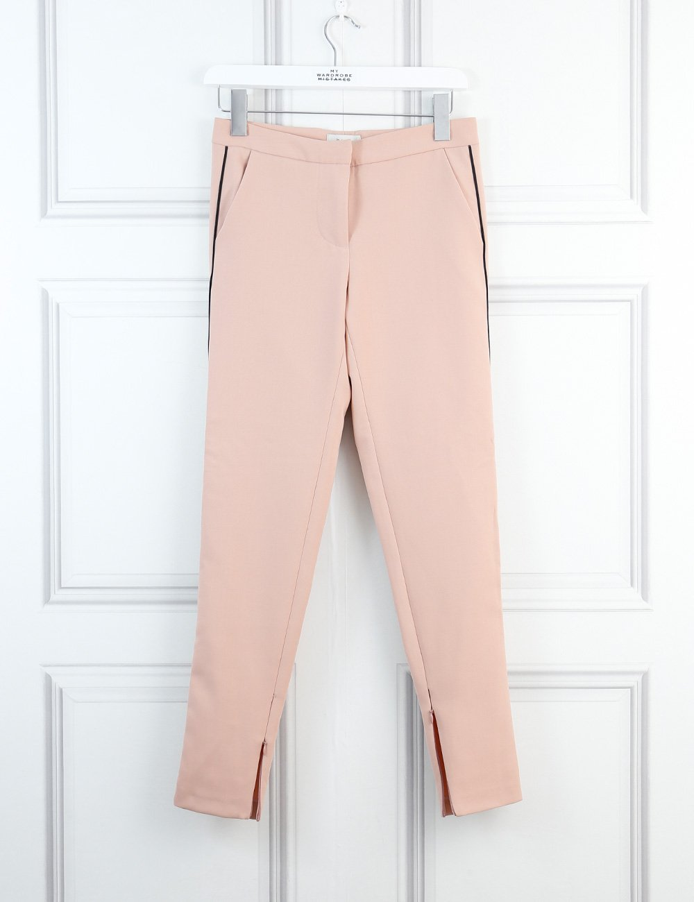 Hoss Intropia pink tailored trousers with contrasting black piping and ankle zips 6Uk