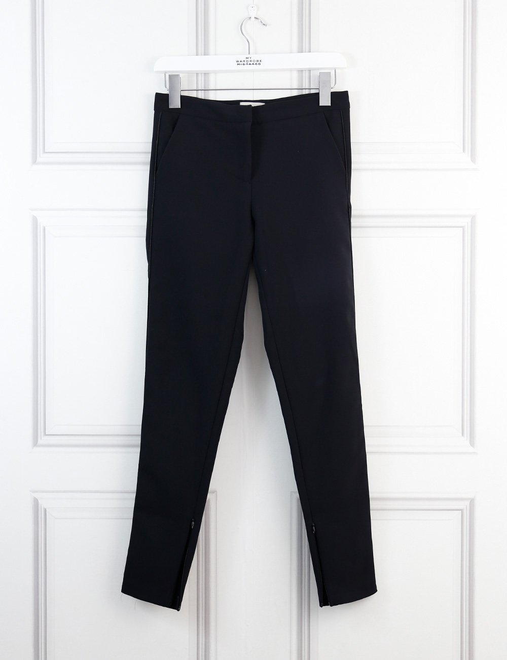 Hoss Intropia black tailored trousers with black satin piping and ankle zips 6Uk