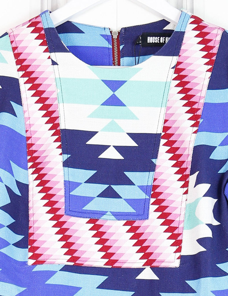 House of Holland multicolour A-line dress with Aztec print 10UK- My Wardrobe Mistakes