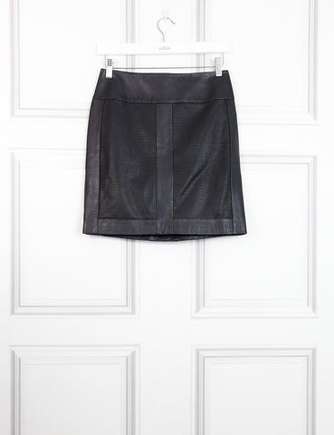 Hugo black leather skirt with perforated details 8UK- My Wardrobe Mistakes