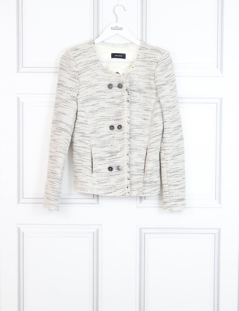 Isabel Marant multicolour raw edges collarless jacket with buttons 10 Uk- My Wardrobe Mistakes