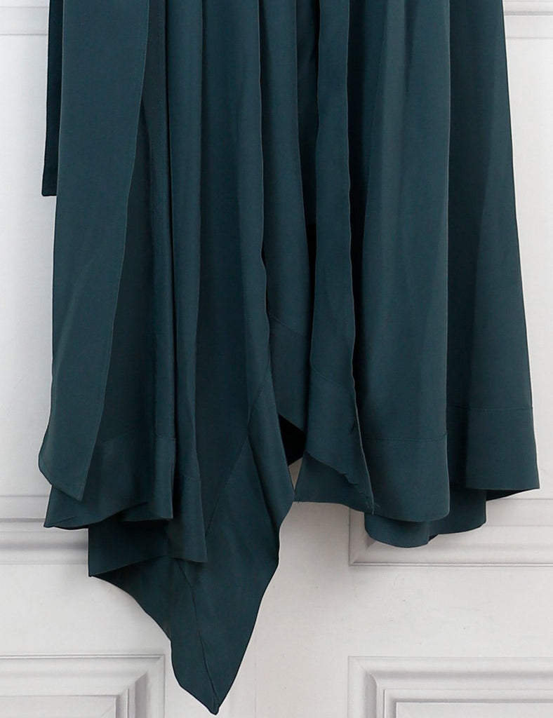 Isabel Marant green silk long belted dress 12 Uk- My Wardrobe Mistakes