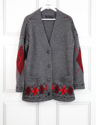 Isabel Marant grey woollen buttoned cardigan with pockets 10UK- My Wardrobe Mistakes