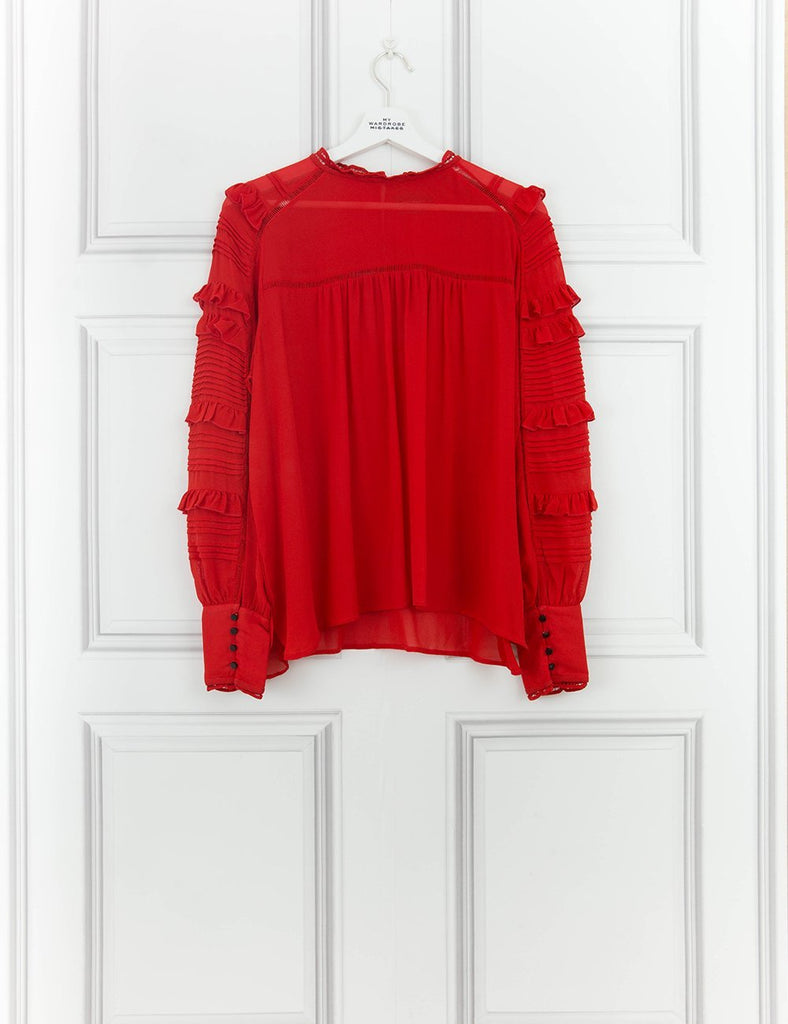ISABEL MARANT CLOTHING Quimper silk-blend and lace blouse