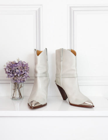 Isabel Marant white Lamsy cowboy ankle boots 7Uk- My Wardrobe Mistakes