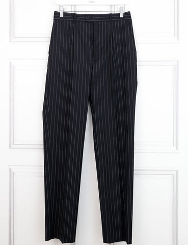 Jean Paul Gaultier multicolour pinstripe suit with deconstructed jacket at the back 8UK- My Wardrobe Mistakes