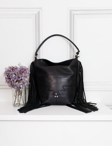 Jerome Dreyfuss black Mario tote bag with fringes- my Wardrobe Mistakes