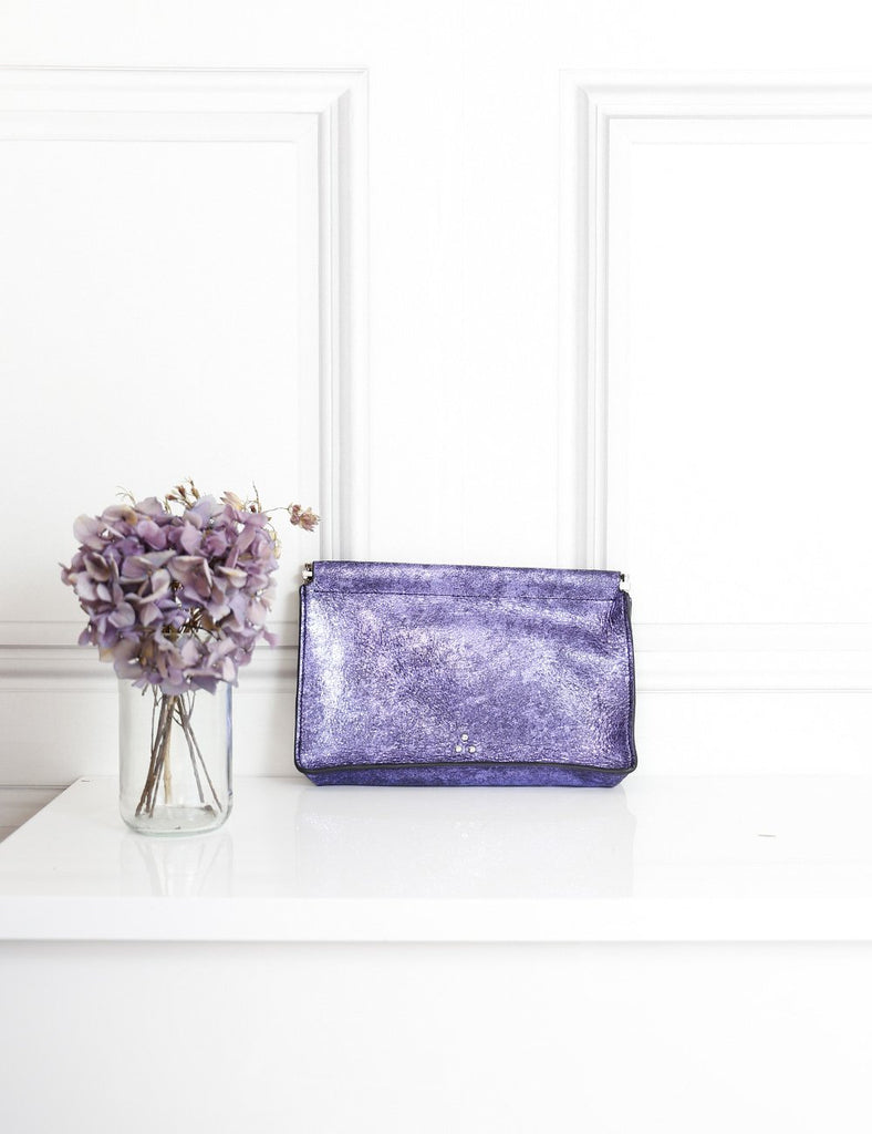 Jerome Dreyfuss purple Clic Clac clutch bag- My Wardrobe Mistakes