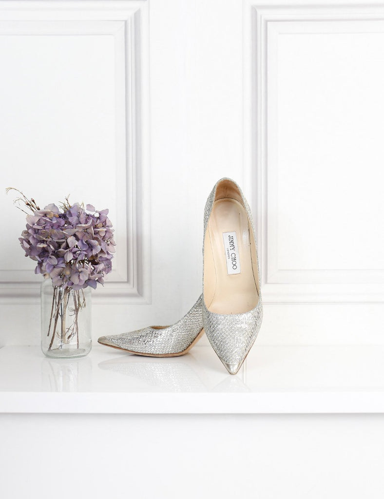 Jimmy Choo Abel champagne glitter pumps 4 Uk
