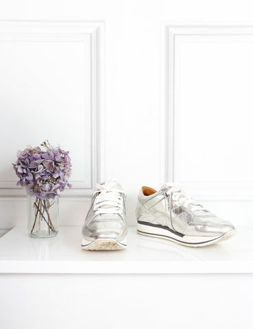 Jimmy Choo silver embossed mirror leather sneakers 5Uk- My Wardrobe Mistakes
