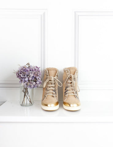 Jimmy Choo beige wedge sneakers with python details 6UK- My Wardrobe Mistakes