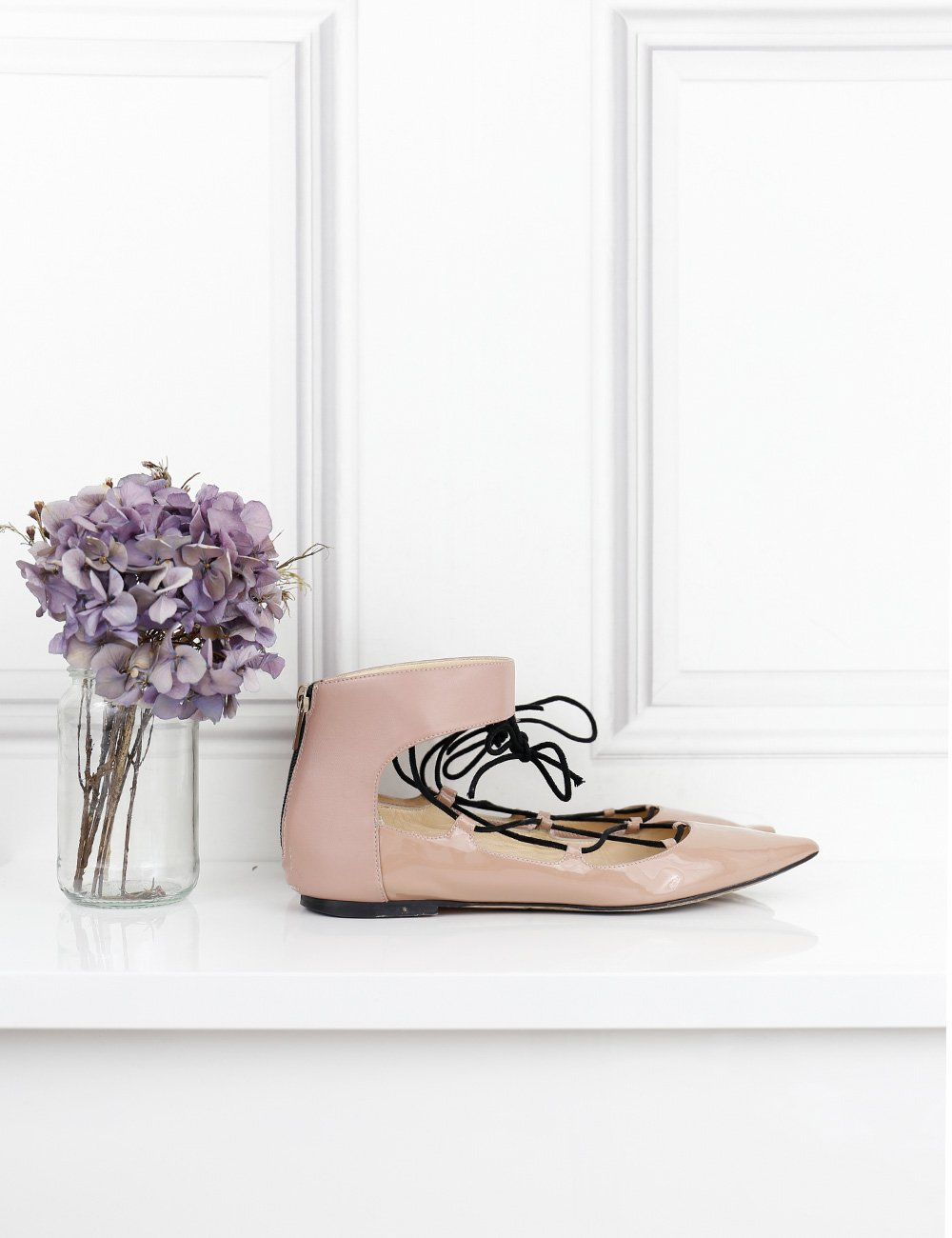 Jimmy Choo pink pointed toe flat ballerinas with laces 6UK- My Wardrobe Mistakes