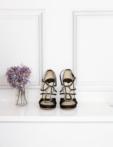 Jimmy Choo black night satin sandals 7.5Uk- My Wardrobe Mistakes