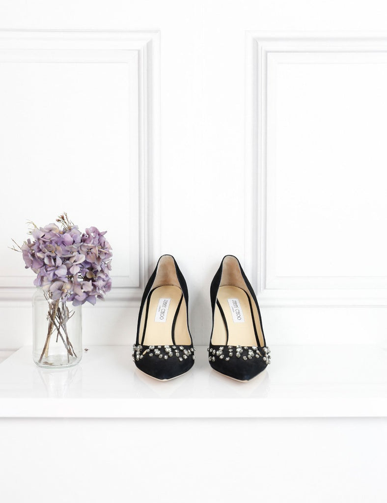 Jimmy Choo black pointed toe pumps in satin with embellishments 7Uk- My Wardrobe Mistakes