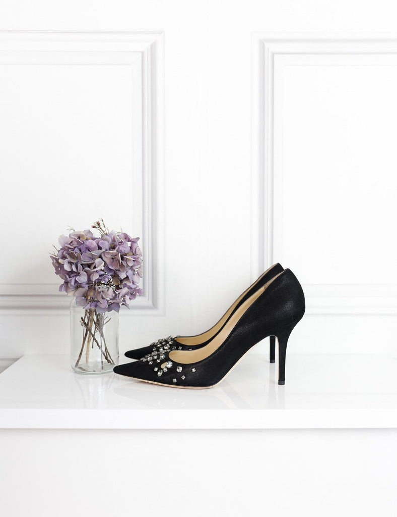 Jimmy Choo black pointed toe pumps in satin with embellishments- 7Uk- My Wardrobe Mistakes