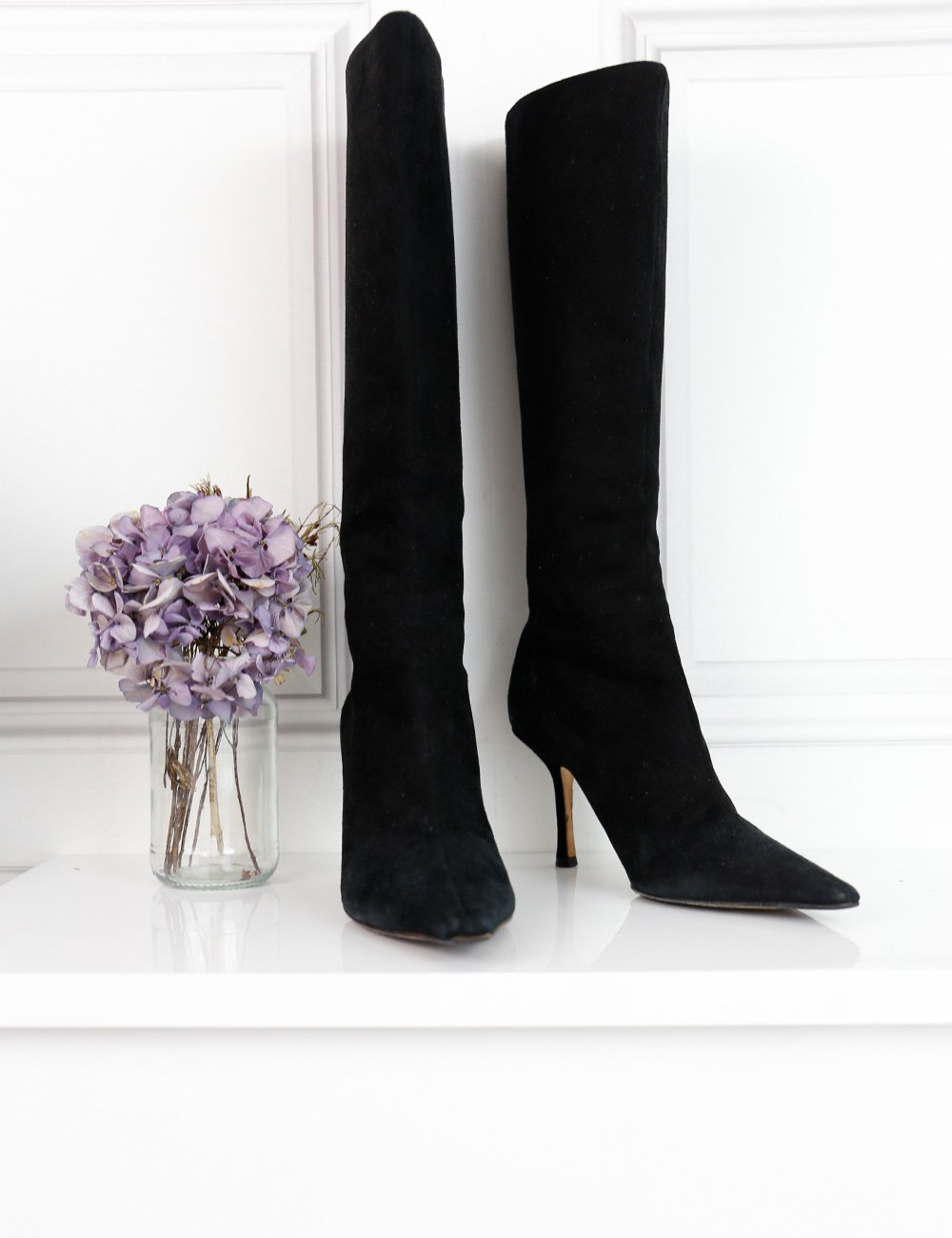 Jimmy Choo black suede knee-high stiletto boots 4.5Uk- My Wardrobe Mistakes