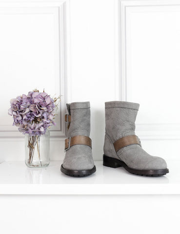 Jimmy Choo grey flat ankle boots with buckle 1Uk- My Wardrobe Mistakes