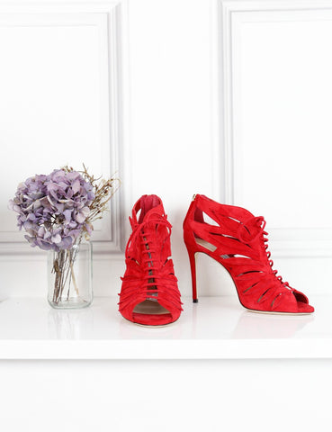 Jimmy Choo red Keena flame suede booties 5UK- My Wardrobe Mistakes