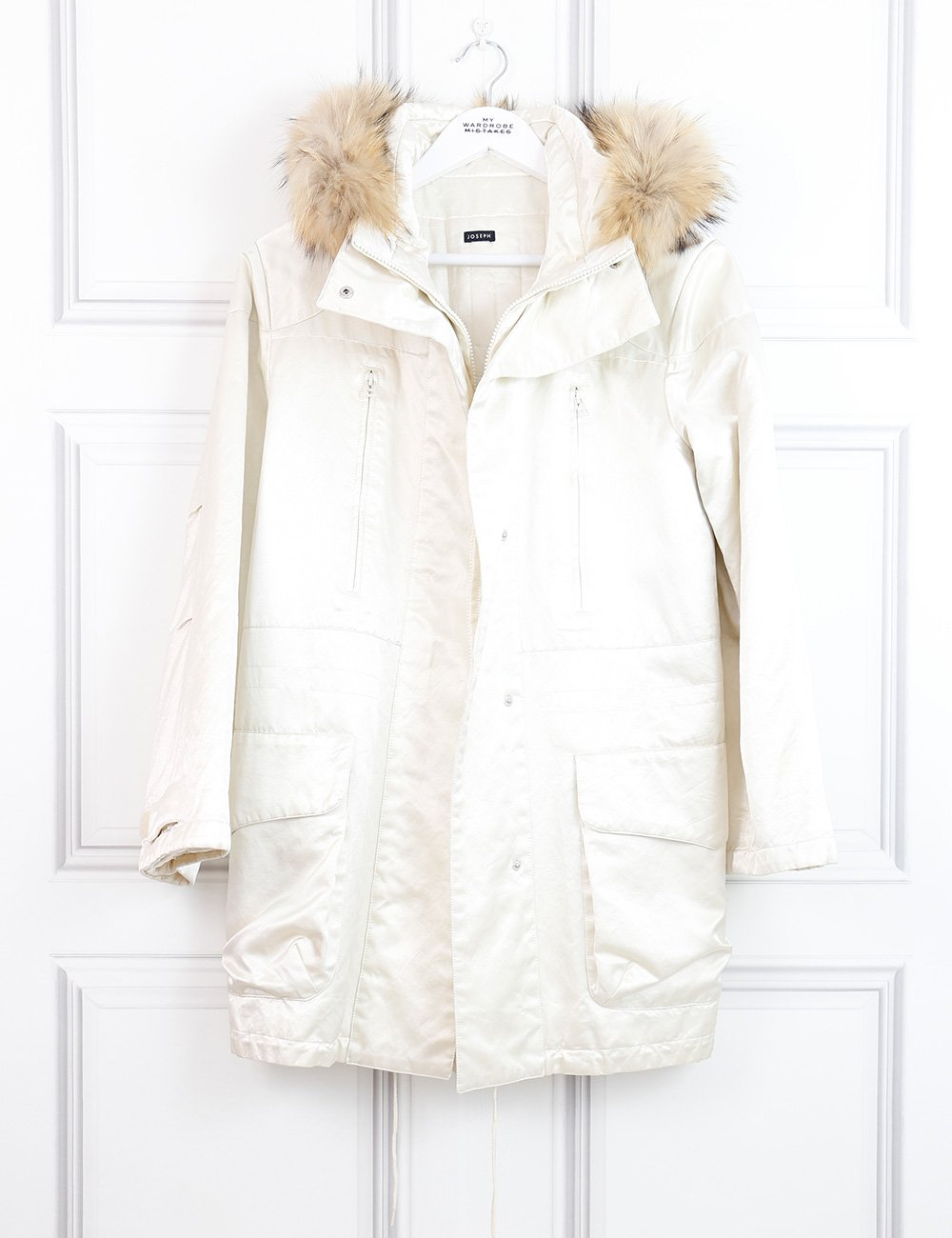 Joseph white coat with fur trimmed hood 8UK- My Wardrobe Mistakes