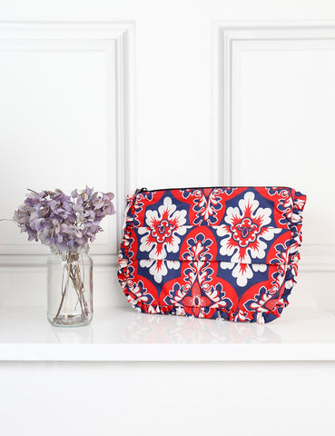 La DoubleJ multicolour floral frilled clutch- My Wardrobe Mistakes