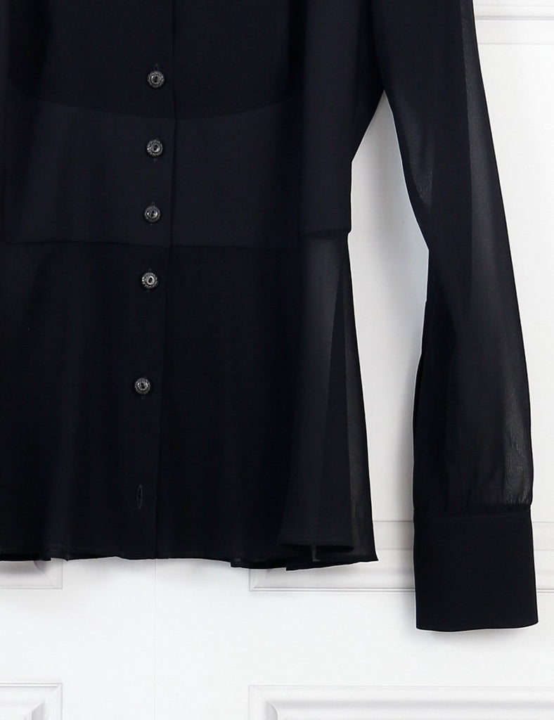 La Perla black long sleeves silk shirt 8Uk- My Wardrobe Mistakes