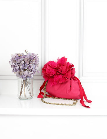 Lanvin pink aumoniere bag with flower and chain- My Wardrobe Mistakes