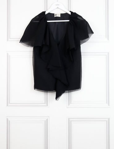 Lanvin black v-neck top with frills 10UK- My Wardrobe Mistakes