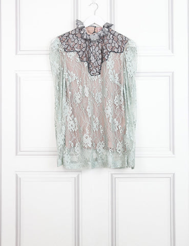Lanvin multicolour sheer lace shirt with floral motives 8UK- My Wardrobe Mistakes