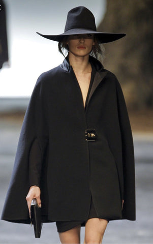 Lanvin black woollen cape with satin collar 12UK- My Wardrobe Mistakes
