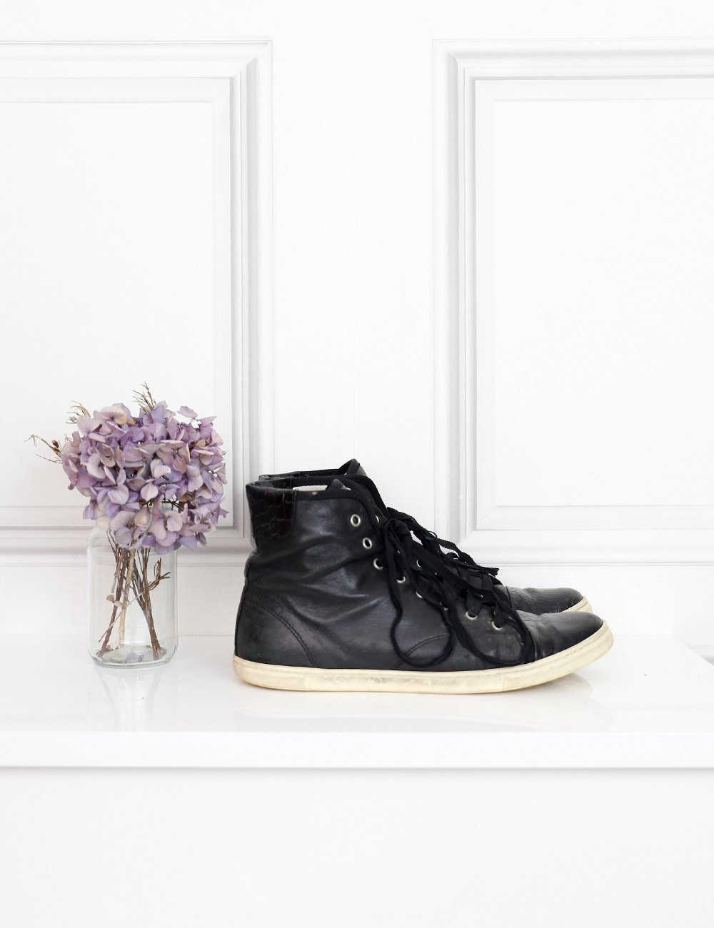 Lanvin black croc embossed cap toe high top sneakers 7Uk