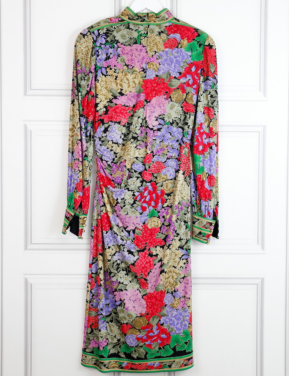 Leonard Fashion multicolour silk long dress with flower print and gold threads 10UK- My Wardrobe Mistakes