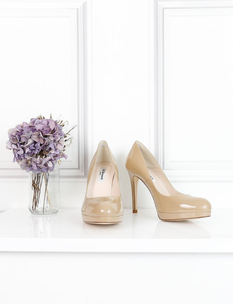 LK Bennett beige patent pumps with platform 5UK- My Wardrobe Mistakes